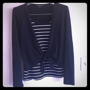 Jones tie blouse black white top shirt stripe Euc